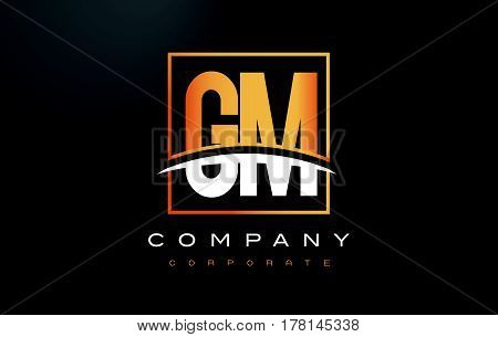 GM G M Golden Letter Logo Design with Swoosh and Rectangle Square Box Vector Design. poster