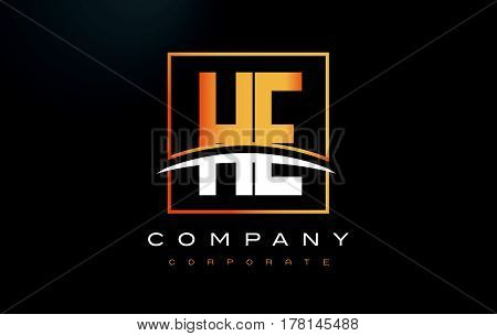 He H E Golden Letter Logo Design With Gold Square And Swoosh.