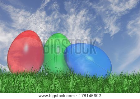 3D. Three see through easter eggs with a cross on the green egg