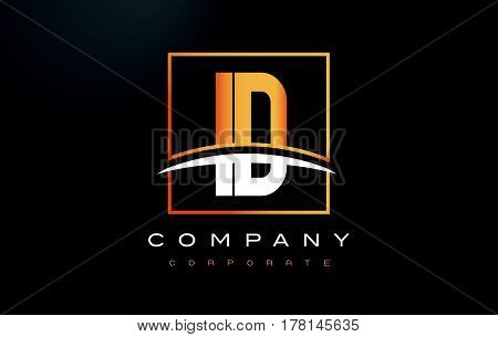 Id I D Golden Letter Logo Design With Gold Square And Swoosh.