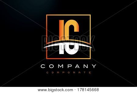 Ic I C Golden Letter Logo Design With Gold Square And Swoosh.