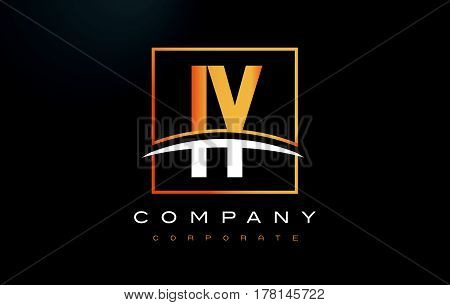 Iy I Y Golden Letter Logo Design With Gold Square And Swoosh.