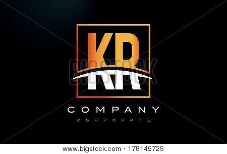 Kr K R Golden Letter Logo Design With Gold Square And Swoosh.