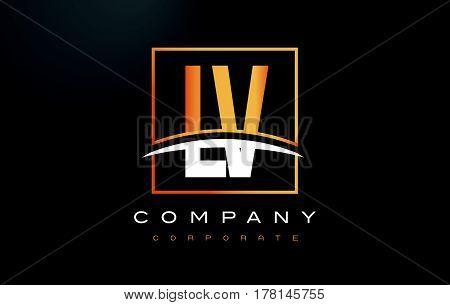 Lv L V Golden Letter Logo Design With Gold Square And Swoosh.