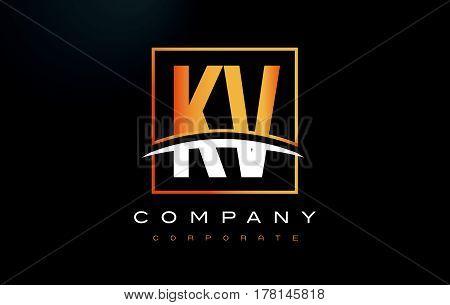 Kv K V Golden Letter Logo Design With Gold Square And Swoosh.