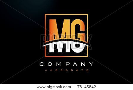 Mg M G Golden Letter Logo Design With Gold Square And Swoosh.