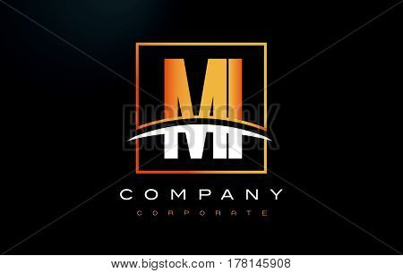 Mi M I Golden Letter Logo Design With Gold Square And Swoosh.