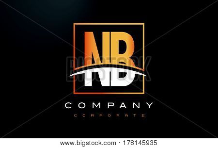 Nb N B Golden Letter Logo Design With Gold Square And Swoosh.