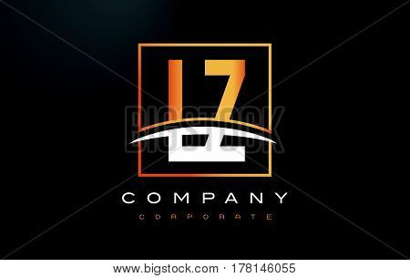 Lz L Z Golden Letter Logo Design With Gold Square And Swoosh.