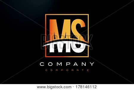 Ms M S Golden Letter Logo Design With Gold Square And Swoosh.