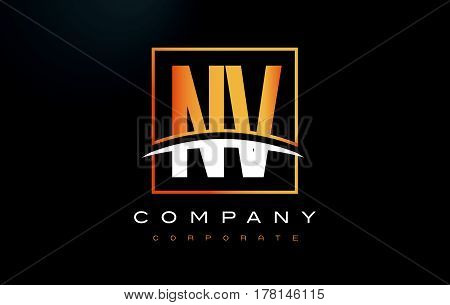 Nv N V Golden Letter Logo Design With Gold Square And Swoosh.