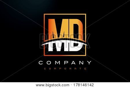 Md M D Golden Letter Logo Design With Gold Square And Swoosh.