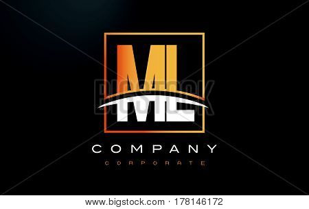 Ml M L Golden Letter Logo Design With Gold Square And Swoosh.