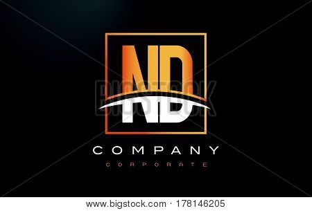 Nd N D Golden Letter Logo Design With Gold Square And Swoosh.