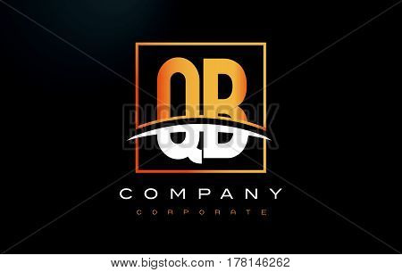Qb Q B Golden Letter Logo Design With Gold Square And Swoosh.