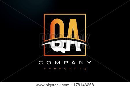 Qa Q A Golden Letter Logo Design With Gold Square And Swoosh.
