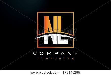 Nl N L Golden Letter Logo Design With Gold Square And Swoosh.