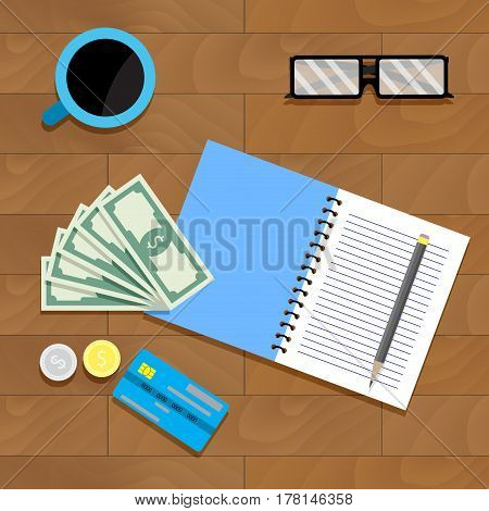 Calculate fiscal budget. Calculation account and audit profit bankruptcy individual vector illustration