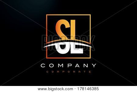 Sl S L Golden Letter Logo Design With Gold Square And Swoosh.