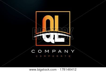 Ql Q L Golden Letter Logo Design With Gold Square And Swoosh.