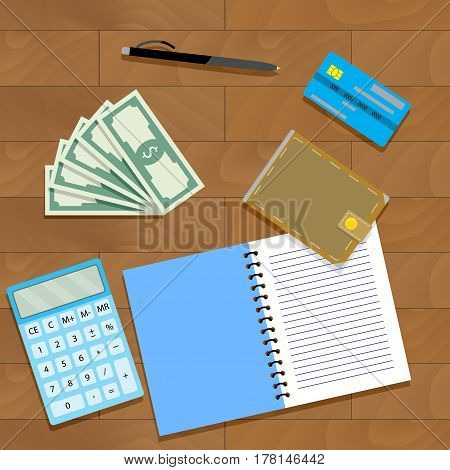Finance plan concept. Calculate audit finance vector illustration