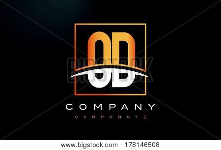 Od O D Golden Letter Logo Design With Gold Square And Swoosh.