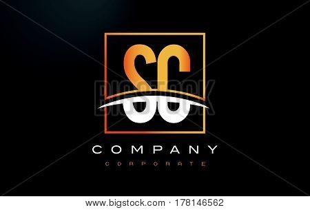 Sc S C Golden Letter Logo Design With Gold Square And Swoosh.