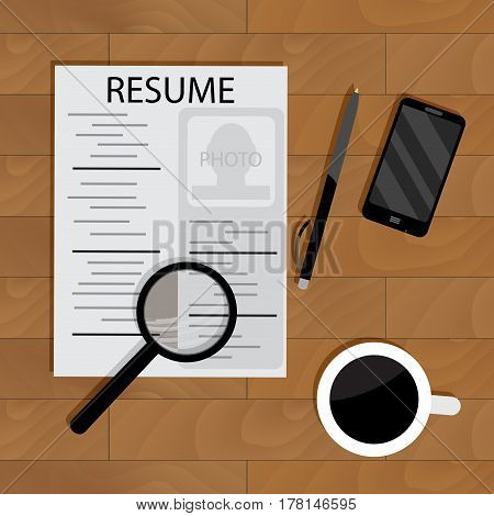 Hiring for job. Motivational and find career resume and search work. Vector illustration