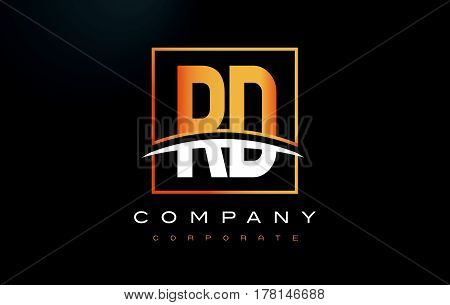Rd R D Golden Letter Logo Design With Gold Square And Swoosh.