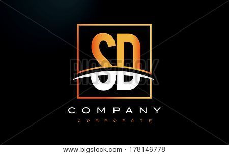 Sd S D Golden Letter Logo Design With Gold Square And Swoosh.