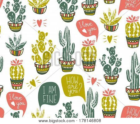 Vector cactus hand-drawn seamless pattern. Grunge silhouette print linocuts with dialogues. Fabric design with potted cacti and succulents.