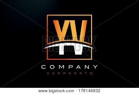 Yv Y V Golden Letter Logo Design With Gold Square And Swoosh.
