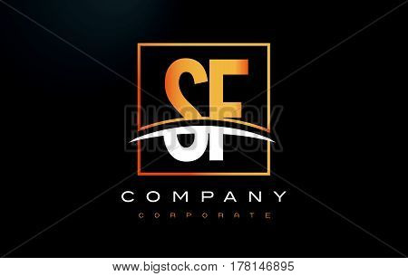 Sf S F Golden Letter Logo Design With Gold Square And Swoosh.