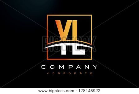 Yl Y L Golden Letter Logo Design With Gold Square And Swoosh.