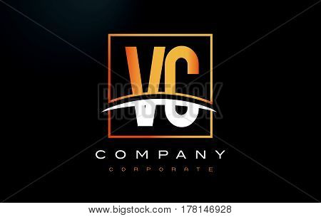Vc V C Golden Letter Logo Design With Gold Square And Swoosh.