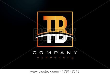 Tb T B Golden Letter Logo Design With Gold Square And Swoosh.
