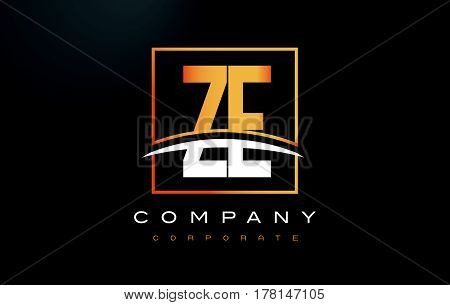Ze Z E Golden Letter Logo Design With Gold Square And Swoosh.