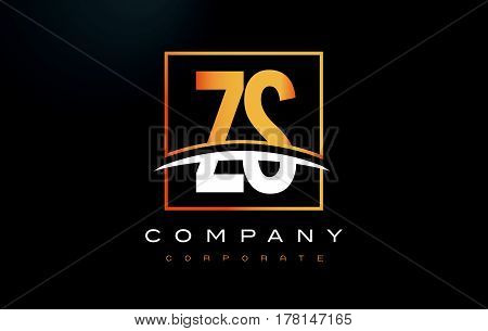 Zs Z S Golden Letter Logo Design With Gold Square And Swoosh.