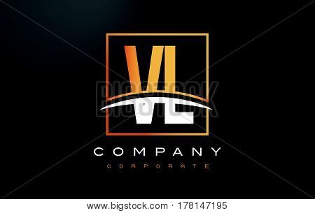 Vl V L Golden Letter Logo Design With Gold Square And Swoosh.