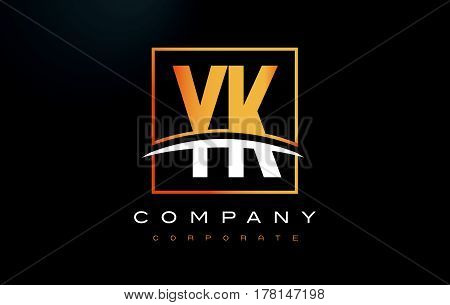 Yk Y K Golden Letter Logo Design With Gold Square And Swoosh.