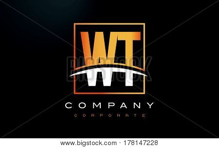 Wt W T Golden Letter Logo Design With Gold Square And Swoosh.