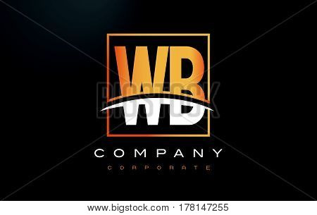 Wb W B Golden Letter Logo Design With Gold Square And Swoosh.