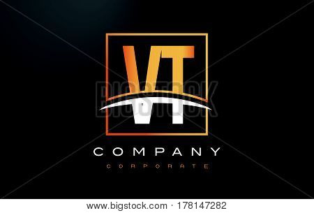Vt V T Golden Letter Logo Design With Gold Square And Swoosh.