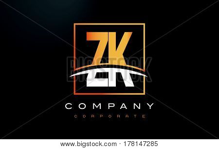 Zk Z K Golden Letter Logo Design With Gold Square And Swoosh.