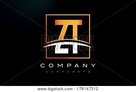 Zt Z T Golden Letter Logo Design With Gold Square And Swoosh.