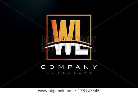 Wl W L Golden Letter Logo Design With Gold Square And Swoosh.