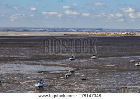 Lots of boats in the mud seascape
