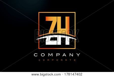 Zh Z H Golden Letter Logo Design With Gold Square And Swoosh.