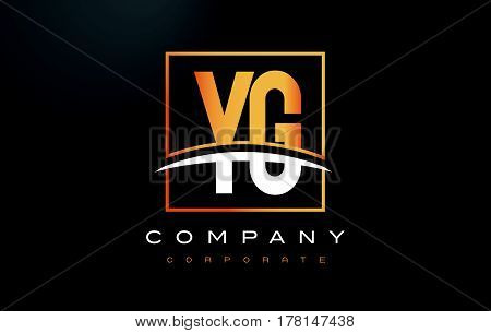 Yg Y G Golden Letter Logo Design With Gold Square And Swoosh.