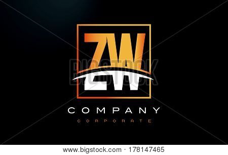 Zw Z W Golden Letter Logo Design With Gold Square And Swoosh.